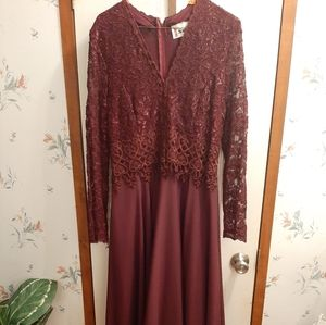 A burgundy gown by Speed